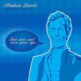 Abraham Lincoln Poster. On a blue background vector illustration