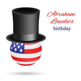 Abraham Lincoln`s birthday vector background. Presidential Black top hat worn by the American flag in the shape of a. Ball. Usable for design greeting card Stock Image