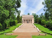 Abraham Lincoln's Birthplace. This is the memorial building at Abraham Lincoln's birthplace outside of Hodgenville, Kentucky.  It houses a replica of te small Stock Image