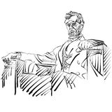 Abraham Lincoln Sketch Side View. Vector Artwork Royalty Free Stock Photos