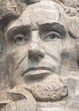 Abraham Lincoln stänger sig upp på Mount Rushmore nationell minnes- skulptur Fotografering för Bildbyråer