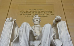 Abraham Lincoln-standbeeld in Lincoln Memorial in Washington DC royalty-vrije stock foto