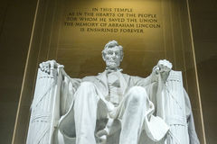 Abraham Lincoln Statue i Washington DC - Lincoln Memorial Royaltyfri Bild
