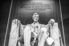 Abraham Lincoln Statue i Washington DC - Lincoln Memorial Arkivfoton