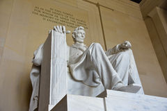 Abraham Lincoln staty i Lincoln Memorial i Washington DC Arkivbilder