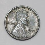 Abraham Lincoln Steel Penny 1943 Foto de Stock Royalty Free