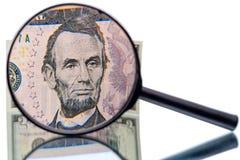 Abraham Lincoln y lupa Imágenes de archivo libres de regalías