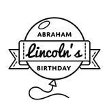 Abraham Lincolns birthday greeting emblem. Abraham Lincolns birthday emblem isolated vector illustration on white background. 12 february USA patriotic holiday stock illustration