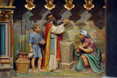 Abraham and Melchizedek. Meeting of Abraham and Melchizedek royalty free stock image