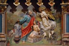 Abraham Sacrificing Isaac royalty-vrije stock afbeelding