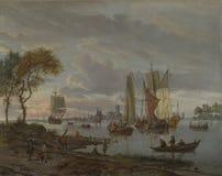 Abraham Storck - uma opinião do rio imagem de stock royalty free
