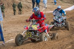 Abramov Dmitriy 51. SERPUKHOV, RUSSIA - OCTOBER 7, 2017: Abramov Dmitriy 51,  Class ATV, in the 4 stage  MX series, the Red Wings Cup 2017 super country-cross Stock Photography
