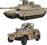 Abrams_Hummer. Abrams Tank and car Hummer Stock Images