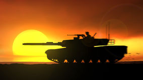 Abrams tanks against the setting sun. Abrams tanks is moving rapidly against the setting sun in the sea Royalty Free Illustration