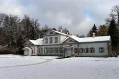 The main manor house in the museum-reserve `Abramtsevo` royalty free stock photo
