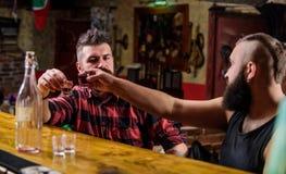 Abrandamento de sexta-feira na barra Amigos que relaxam na barra ou no bar Conversação interessante Homem farpado brutal do moder fotografia de stock