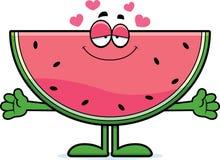 Abraço da melancia dos desenhos animados Foto de Stock
