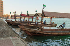 Abras or water-taxi ready to carry passengers across the creek, in modern day Dubai. Stock Image