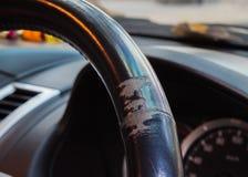 Abrasion of steering wheel car. Close up abrasion of steering wheel car background Stock Photo