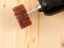 Abrasive brush. Special abrasive brush for opening the wood grain Stock Photography