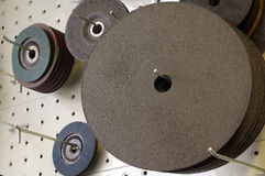 Abrasive and cutting discs panel organizer Royalty Free Stock Images