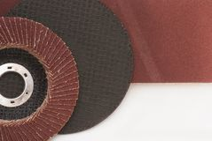 Abrasive disk. With sandpaper closeup Royalty Free Stock Image