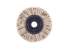 Abrasive disks for metal polishing on white background Stock Photos