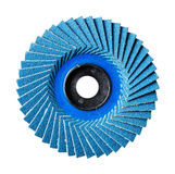 Abrasive flap disc. Close up blue color abrasive flap disc  number 120 isolated on white Stock Photography