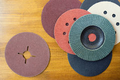 Abrasive materials - sheets of sandpaper and disks close-up Royalty Free Stock Images