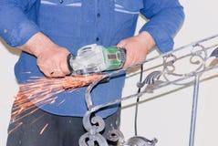 Abrasive tool. Processing of metal abrasive tool Stock Photos