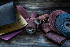 Abrasive tools set on vintage wood royalty free stock image