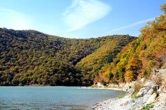 Abrau lake. Beautiful view of the lake and mountains Stock Photos