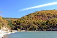 Abrau lake. Beautiful view of the lake and mountains Stock Photography