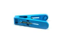 Abrazadera plástica azul del paño Fotografía de archivo libre de regalías