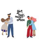 Abrazando los pares con la nota dan abrazos más a menudo stock de ilustración