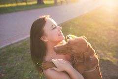 Abrazo con un perro en primer Muchacha y animal doméstico sonrientes en un paseo en el parque foto de archivo