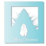 Abrazo de dos osos blancos Letras dibujadas mano de la Navidad Vector Foto de archivo