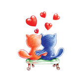 Abrazo de gatos Imagen de archivo libre de regalías