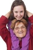 Abrazo de la abuela y de la nieta Fotografía de archivo libre de regalías
