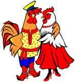 Abrazo de los gallos Foto de archivo libre de regalías