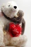 Abrazo de oso de la tarjeta del día de San Valentín Foto de archivo
