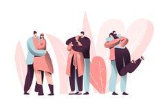 Abrazo del carácter de los pares del amor en Valentine Dating Set Forma de vida feliz del aniversario de la relación del amante H ilustración del vector