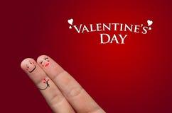 Abrazo del dedo, día de tarjeta del día de San Valentín Imagen de archivo libre de regalías