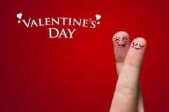 Abrazo del dedo en el tema del día de tarjeta del día de San Valentín Fotografía de archivo libre de regalías