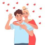 Abrazo del individuo y de la muchacha y sonrisa felices Relación de familia Sensaciones y amor románticos Ilustración del vector stock de ilustración