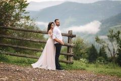 Abrazo encantador de la novia su novio hermoso en montañas Paseo hermoso de los pares de la boda Gackground verde fotografía de archivo libre de regalías