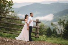 Abrazo encantador de la novia su novio hermoso en montañas Paseo hermoso de los pares de la boda Gackground verde imagen de archivo