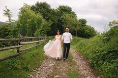 Abrazo encantador de la novia su novio hermoso en montañas Paseo hermoso de los pares de la boda Gackground verde imagenes de archivo