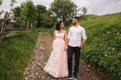 Abrazo encantador de la novia su novio hermoso en montañas Paseo hermoso de los pares de la boda Gackground verde fotos de archivo libres de regalías
