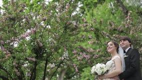Abrazo hermoso del novio su novia hermosa Recienes casados que caminan en el parque Mujer del pelo de Brown en vestido que se cas metrajes